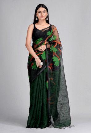 Handloom Pure Matka Silk Jamdani Saree in Black and Dark Green