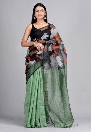 Handloom Pure Matka Silk Jamdani Saree in Black and Dusty Green