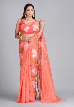 Handloom Pure Matka Silk Jamdani Saree in Dark Peach