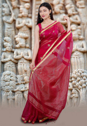 Handloom Matka Silk Jamdani Saree in Fuchsia