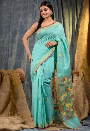 Handloom Pure Matka Silk Jamdani Saree in Light Teal Blue