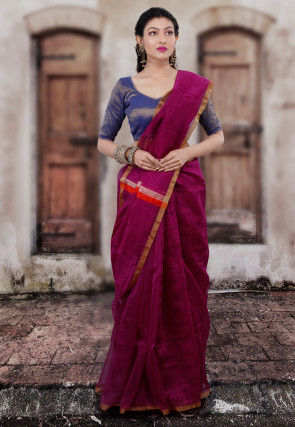 Handloom Matka Silk Jamdani Saree in Purple