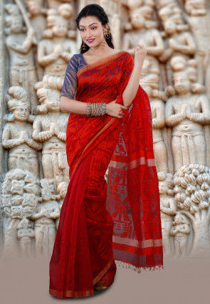Handloom Matka Silk Jamdani Saree in Red