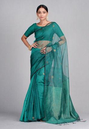 Handloom Pure Matka Silk Jamdani Saree in Teal Blue