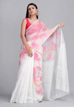 Handloom Pure Matka Silk Jamdani Saree in White