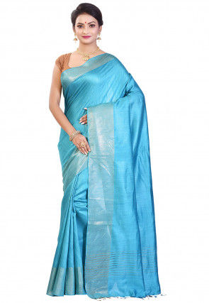 Handloom Pure Muga Silk Saree in Sky Blue