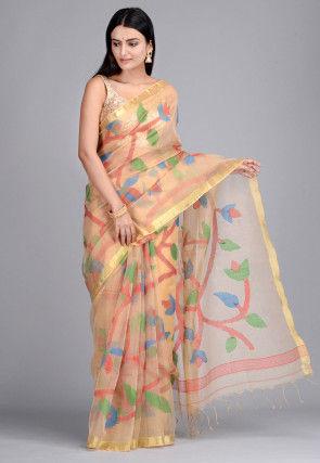Handloom Pure Muslin Silk Jamdani Saree in Peach