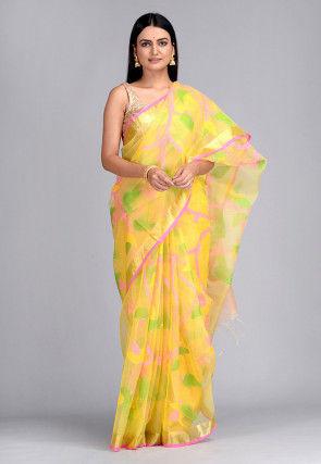 Handloom Pure Muslin Silk Jamdani Saree in Yellow