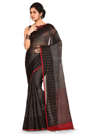 Handloom Pure Resham Silk Saree in Black