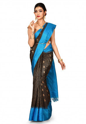 Handloom Pure Silk Gadwal Saree in Black