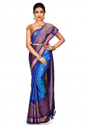 Handloom Pure Silk Gadwal Saree in Blue