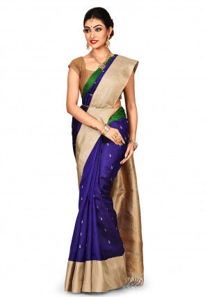Handloom Pure Silk Gadwal Saree in Navy Blue