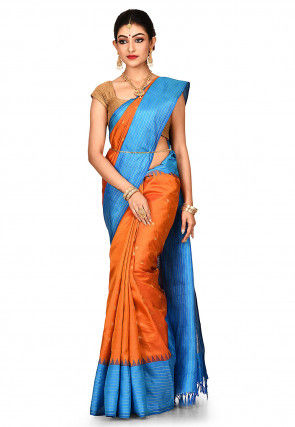 Handloom Pure Silk Gadwal Saree in Orange