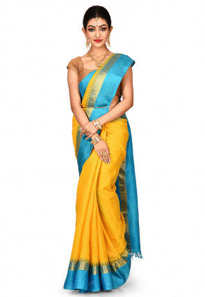 Handloom Pure Silk Gadwal Saree in Yellow