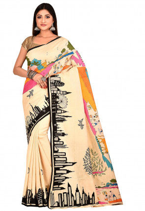 Handloom Pure Silk Kantha Saree in Beige