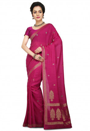 Handloom Pure Tussar Silk Saree in Fuchsia