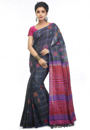 Handloom Tussar Silk Jamdani Saree in Charcoal Black