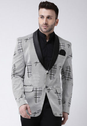 Houndstooth Terry Cotton Tuxedo in Off White and Black