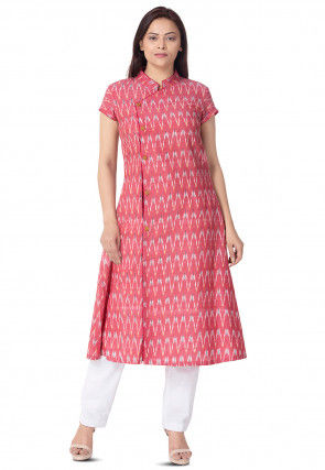 Ikat Woven Linen Cotton A Line Kurta in Pink