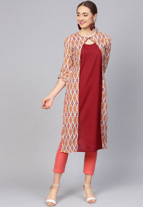 Ikat Printed Chanderi Cotton Kurta in Maroon and Multicolor