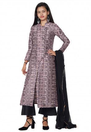 Ikat Printed Chanderi Silk Pakistani Suit in Peach