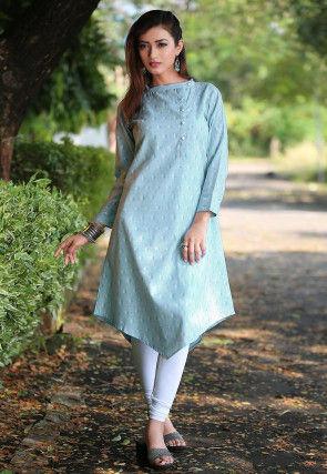 Ikat Printed Cotton Asymmetric Kurta in Light BLue