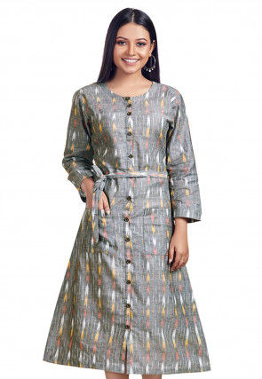Ikat Printed Cotton Flex Kurta in Light Grey