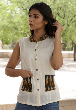 Ikat Printed Cotton Jacket Style Top in Off White