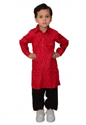 Ikat Printed Cotton Paithani Suit in Red