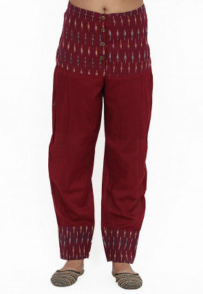Ikat Printed Cotton Pant in Maroon