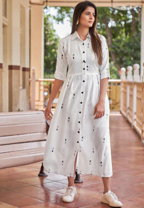 Ikat Printed Cotton Rayon Midi Dress in Off White