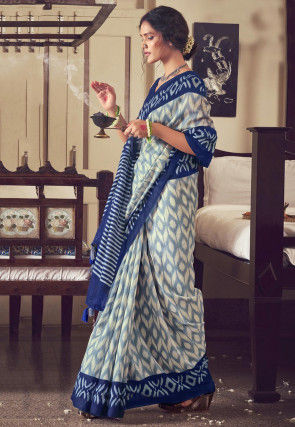 Ikat Printed Cotton Saree in Off White and Blue