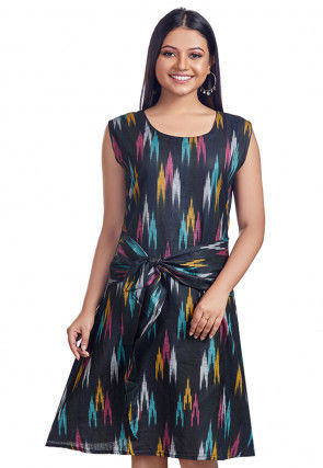 Ikat Printed Cotton Short Dress in Black
