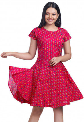 Ikat Printed Cotton Short Dress in Fuchsia