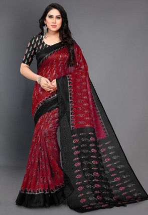 Ikat Printed Cotton Silk Saree in Maroon