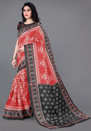 Ikat Printed Cotton Silk Saree in Red