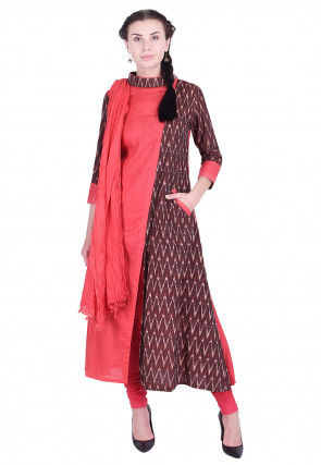 Ikat Printed Cotton Slub A Line Suit in Coral Red and Brown