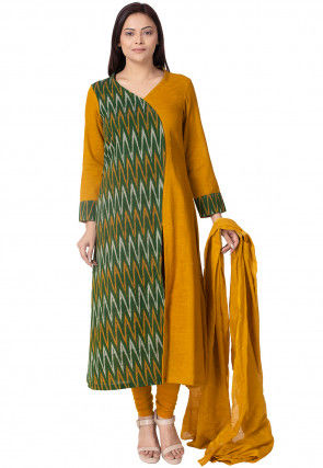Ikat Woven Cotton Slub A Line Suit in Green and Mustard