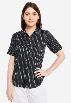 Ikat Printed Cotton Top in Black