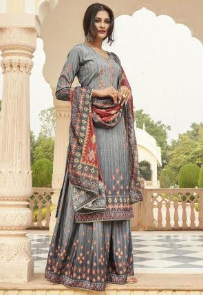 Ikat Printed Crepe Pakistani Suit in Grey