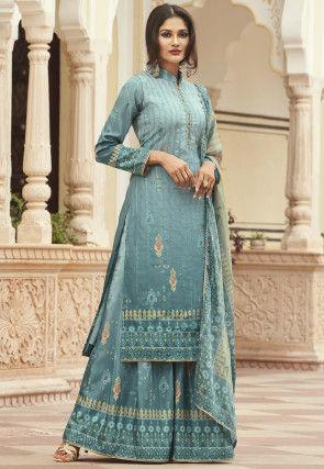 Ikat Printed Crepe Pakistani Suit in Light Blue