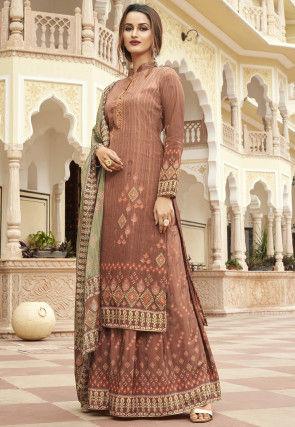 Ikat Printed Crepe Pakistani Suit in Light Brown