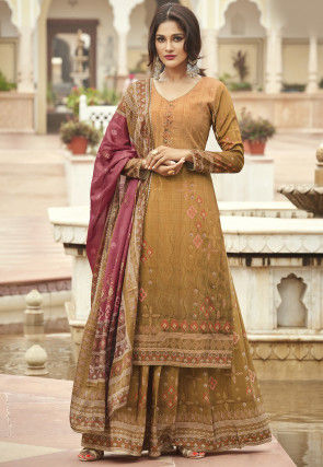 Ikat Printed Crepe Pakistani Suit in Mustard