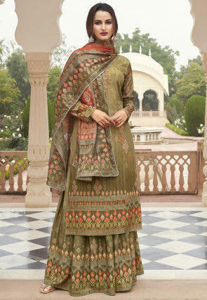 Ikat Printed Crepe Pakistani Suit in Olive Green