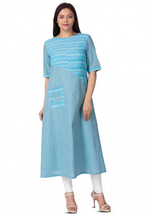 Ikat Printed Linen Cotton A Line Kurta in Light Blue