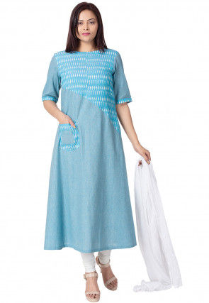 Ikat Woven Linen Cotton A Line Suit in Light Blue