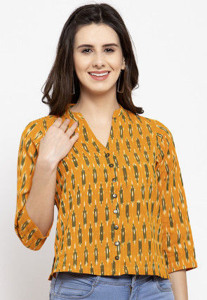 Ikat Printed Pure Cotton Top in Mustard