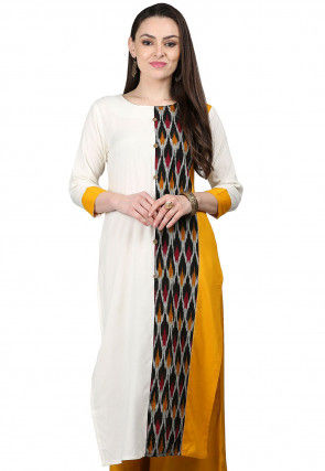 Ikat Printed Viscose Kurta in Off White and Multicolor