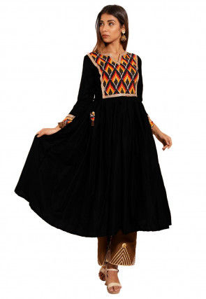 Ikat Printed Yoke Cotton Silk Flared Kurta in Black