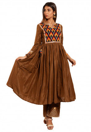 Ikat Printed Yoke Cotton Silk Flared Kurta in Brown